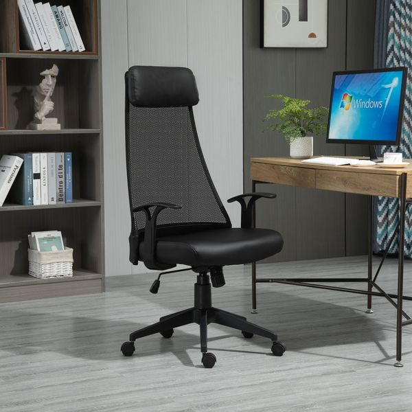 Vinsetto Executive Office Chair Mesh Faux Leather High Back Swivel Computer Desk Chair for Home Black PU w/ Wheel, | Aosom Canada