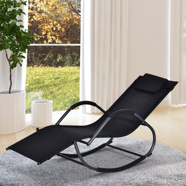 Outsunny Patio Textilene Rocking Lounge Chair Zero Gravity Rocker Outdoor Recliner Seat w/ Padded Pillow Black Chaise | Aosom Canada
