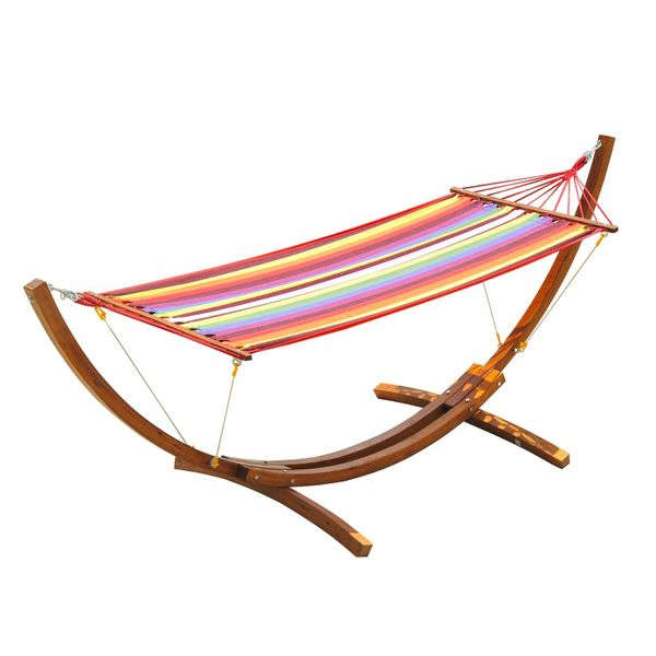 Outsunny Swing Hammock with Hardwood Stand Frame Garden Bed|Aosom.ca