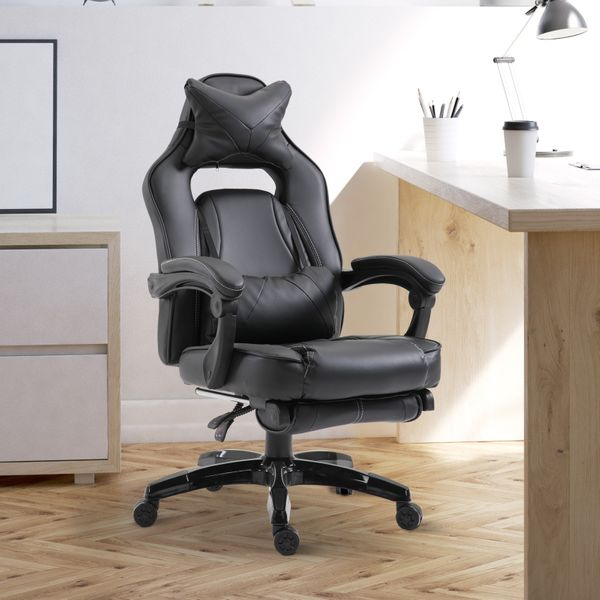 Vinsetto High Back Gaming Chair w/ Footrest Racing Bucket Seat Ergonomic Headrest and Lumbar Cushion Retractable Computer Chair Black|Aosom Canada