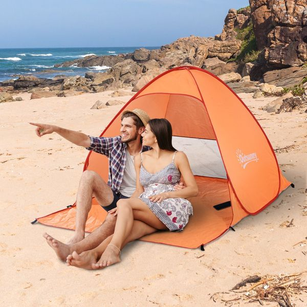 Outsunny Pop Up Beach Tent Portable Sun Shelter UV Protection Picnic Camping Tent with Carry Case & Stakes Orange|Aosom.ca