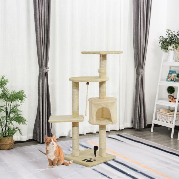"""PawHut 44"""" Scratching Cat Tree Tower with Tunnel And Scratching PostMulti Level Activity Center Kitty Condo Furniture Post Beige   Aosom Canada"""