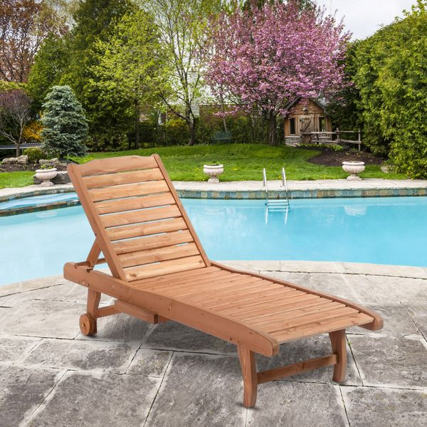 Outsunny Wooden Chaise Lounge Outdoor Patio Furniture Adjustable w/Pullout Table|Aosom.ca