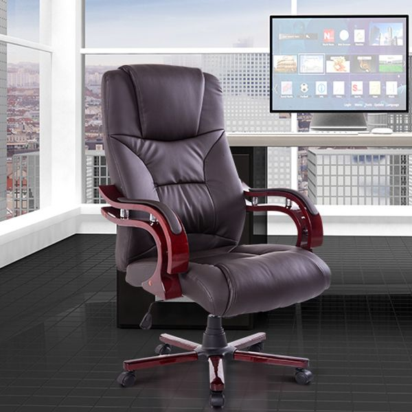 HomCom rocking backrest 360-Degree swivel PU Leather Wood High Back Executive Office Chair Brown | Aosom Canada