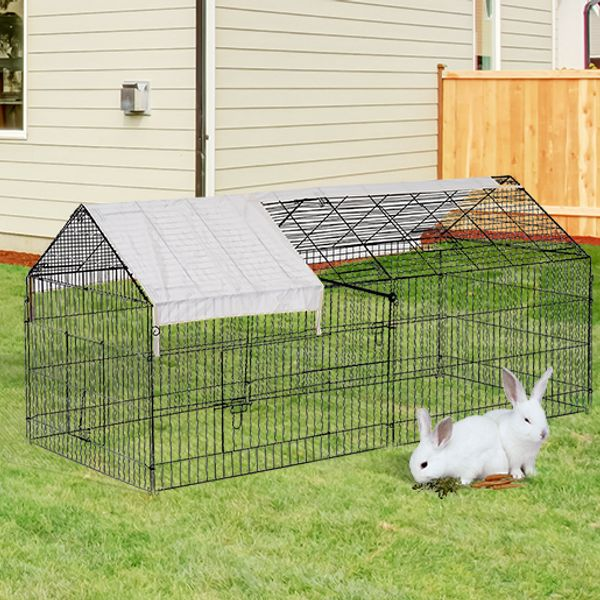 "PawHut 87"" Metal Outdoor Small Animal Enclosure with Protective Cover Black 