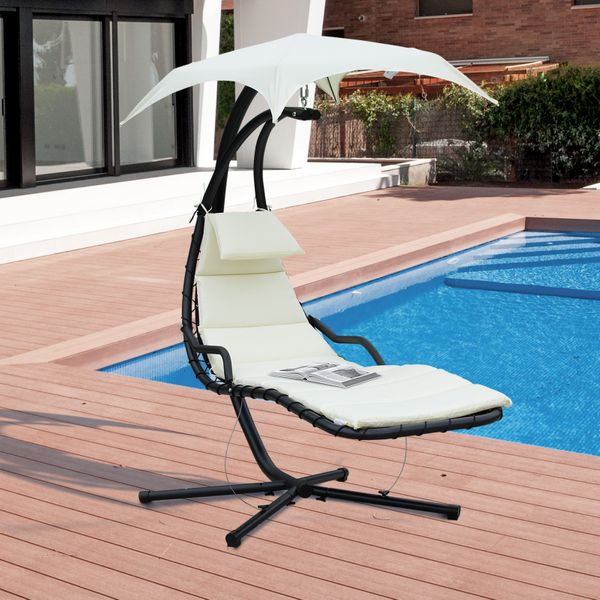 Outsunny Swing Chair Outdoor Hanging Hammock Chaise Lounge with Stand and Canopy Cream White|Aosom Canada
