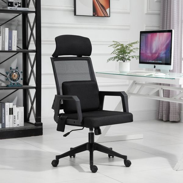 Vinsetto Massage Mesh Office Chair with Lumbar Support Headrest High Back Adjustable