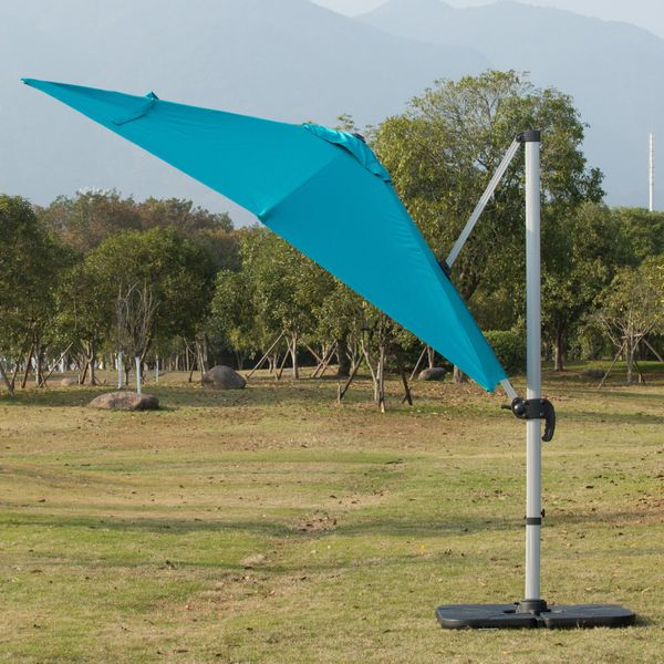 Outsunny 3 x 3m Patio Offset Parasol Umbrella Cantilever Hanging Sun Shade Canopy Shelter 360° Rotation with Stand 3M Rotate Green | Aosom Canada