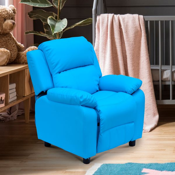 Children's Recliner with Storage Arms – Blue|Aosom.ca