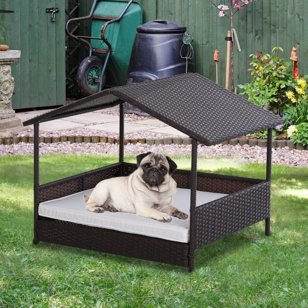 PawHut Outdoor Rattan Pet Home Indoor Wicker Dog House Sofa Bed with Cushion for Patio Furniture | Aosom Canada