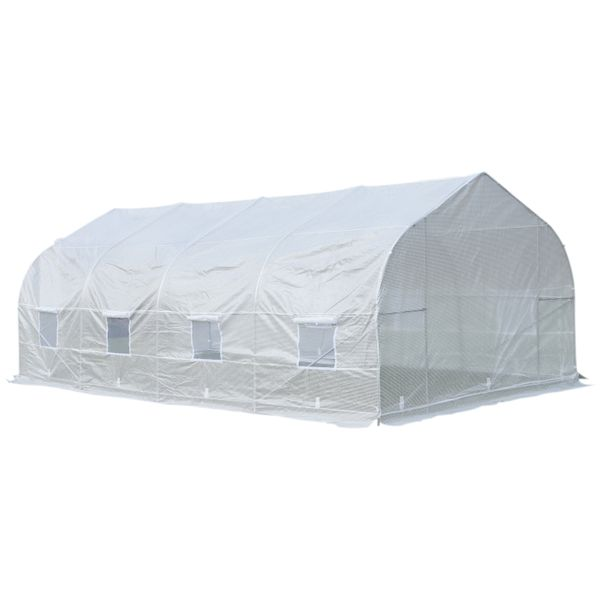 Outsunny 20x10x7ft Walk-in Outdoor Tunnel Greenhouse with 2 Anchor Way White | Aosom Canada