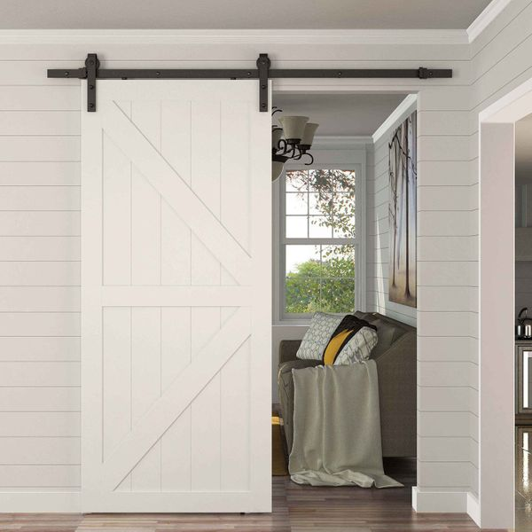HOMCOM Sliding Door Track Hardware 8FT Modern CARBON STEEL Sliding Wood Barn Door Hardware Kit Track Set System Black | Aosom Canada