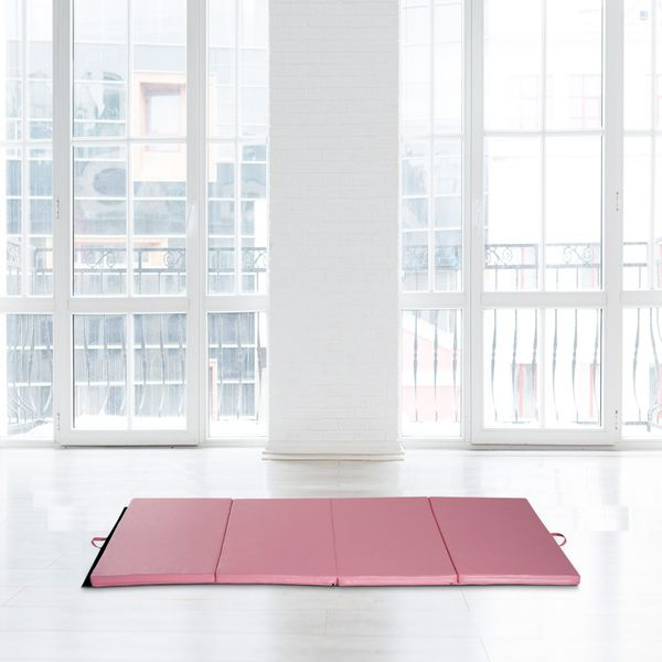 Soozier 3.8ftx7.9ftx2inch PU Leather Gymnastics Tumbling Mat Arts Folding Yoga Exercise Pad 4 Panel Pink