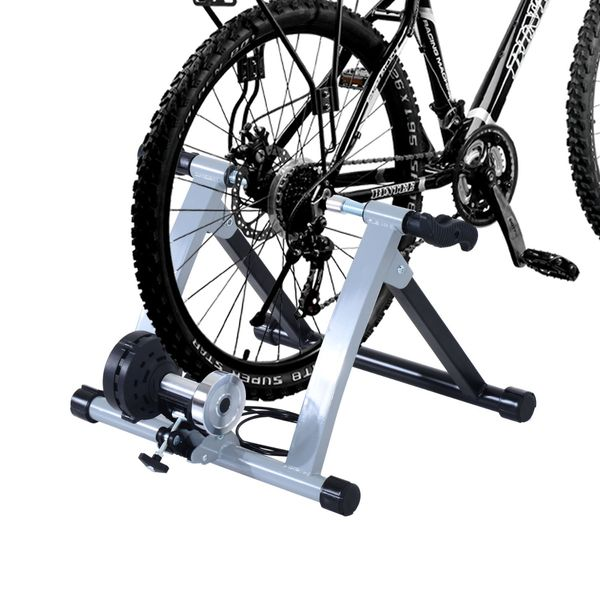 Soozier Bike Trainer Indoor Magnetic Bicycle Stand 5 Level Resistance Silver|Aosom Canada