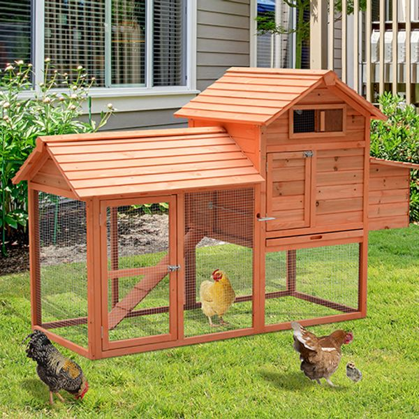 PawHut 82-inch Deluxe Wood Rabbit Hutch Chicken Coop Nesting Box Backyard Poultry Hen House w/ Run | Aosom Canada