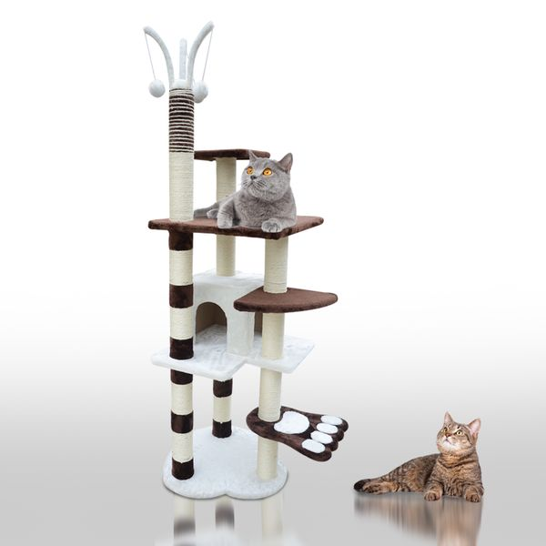 "PawHut New 68"" Cat Tree Scratcher House Condo Furniture Scratching Post Cando Pet Supply Kitten Play Cente w/ Toys 