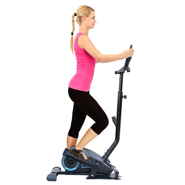 Soozier Magnetic Stepper Elliptical Machine with Adjustable Handlebar Cardio Workout Glider Trainer w/ LCD Monitor | Aosom Canada