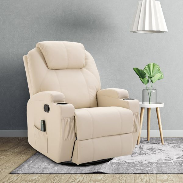 HOMCOM Faux Leather Recliner Chair with Massage Vibration Muti-function Padded Sofa Chair with Remote Control 360 Degree Swivel Seat with Dual Cup Holders Beige | Aosom Canada