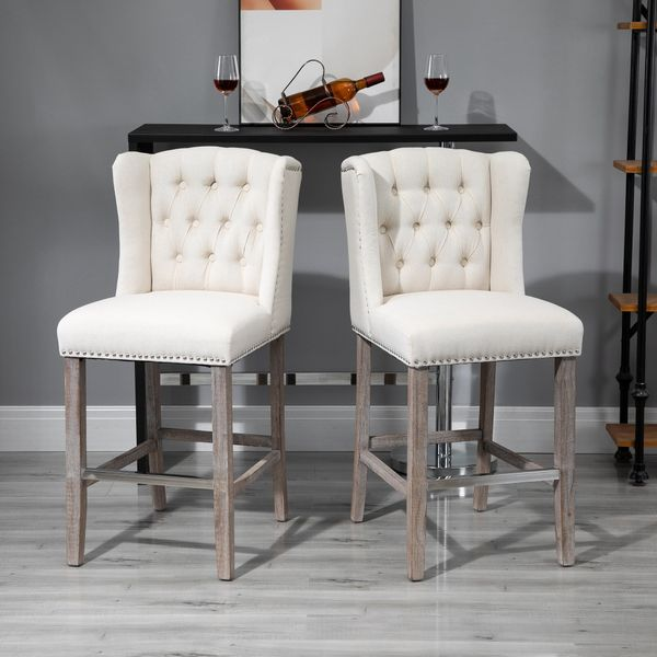 HOMCOM 2 Pieces Barstools Tall Dining Chair with Back Footrest Solid Wood Leg for Home Pub Beige Linen Style Bar Stools | Aosom Canada