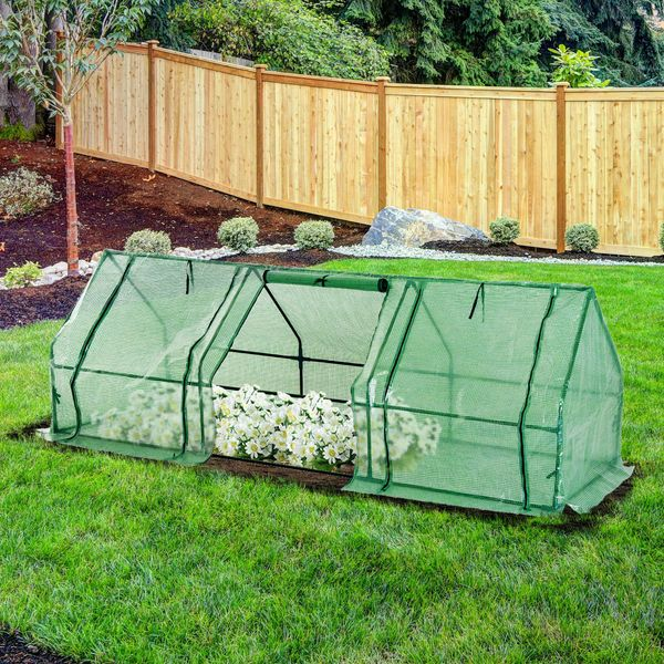 """Outsunny 106.3""""x35.4""""x35.4"""" Walk-in Greenhouse Flower Green House Portable Durable"""