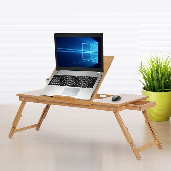 "HOMCOM Adjustable Bamboo Laptop Tray Desk Notebook Table with Side Drawer and Foldable Legs 28"" Portable Breakfast Serving Bed Tilt Top 