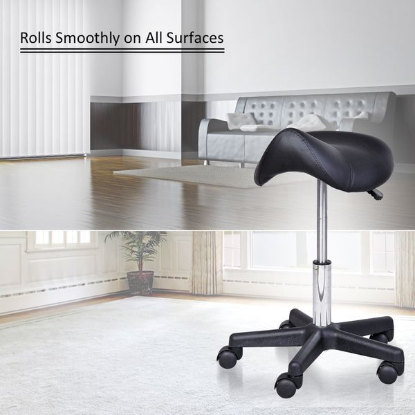 HOMCOM Salon Chair Saddle Stool Rolling Swivel Massage Spa Beauty Leather Adjustable Seat Black|Aosom Canada