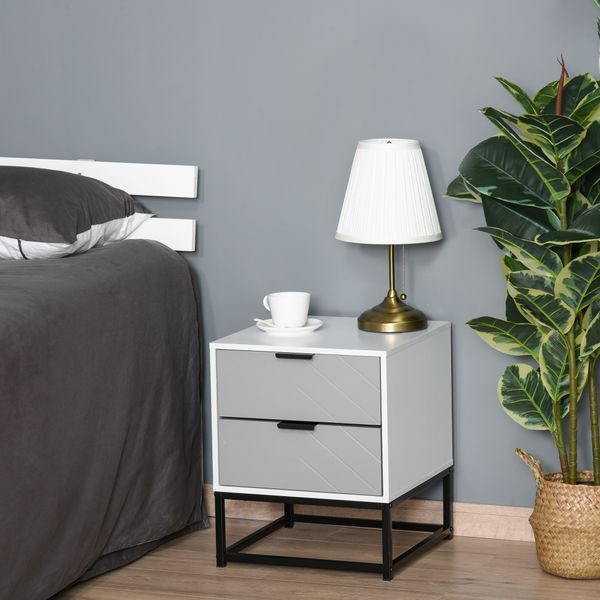 HOMCOM Bedside Cabinet Nightstand with 2 Drawer Unit Storage and Metal Base for Home Office