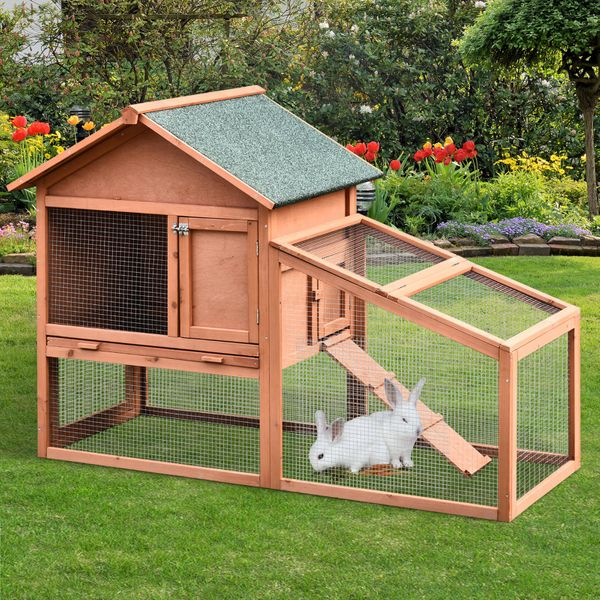 PawHut Solid Wood 2 tier Rabbit Hutch Pet House Outdoor Water-Resistant W/ Ramp Home Small Animals   Aosom Canada