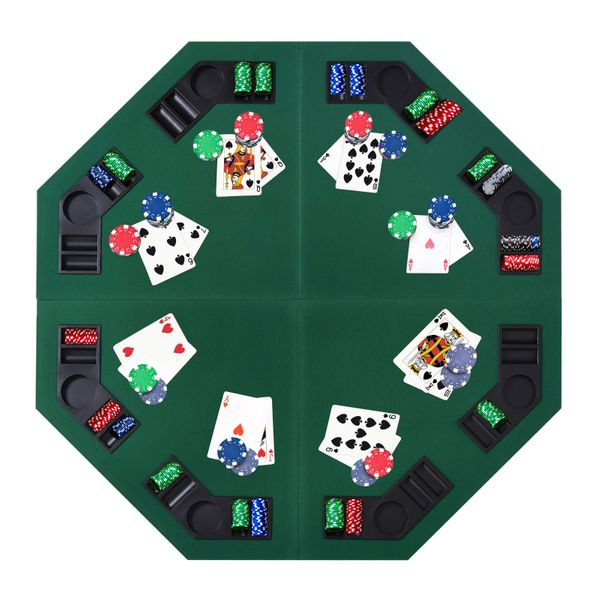 "Soozier 48""/120cm Octagon Blackjack Poker Game Table Top Folding 8 Player Fit Various Desktop Texas