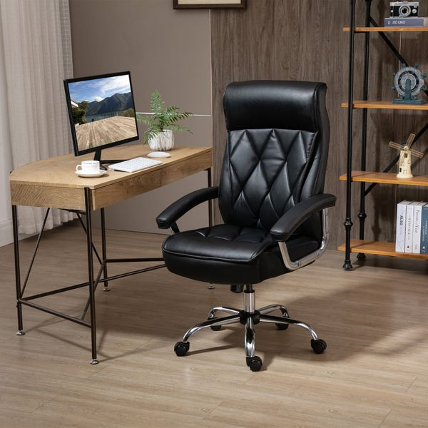 Vinsetto High Back Office Chair Computer Task Seat Adjustable Ergonomic Executive Chair Diamond-Stitched PU Leather Swivel with Padded Armrests,Black Managerial Seat,Black   Aosom Canada