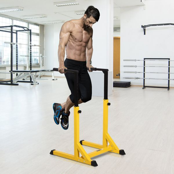 Soozier Heavy Duty Dip Stand Parallel Dip Station Dip Bar Steel Height Ajustable for Home Gym