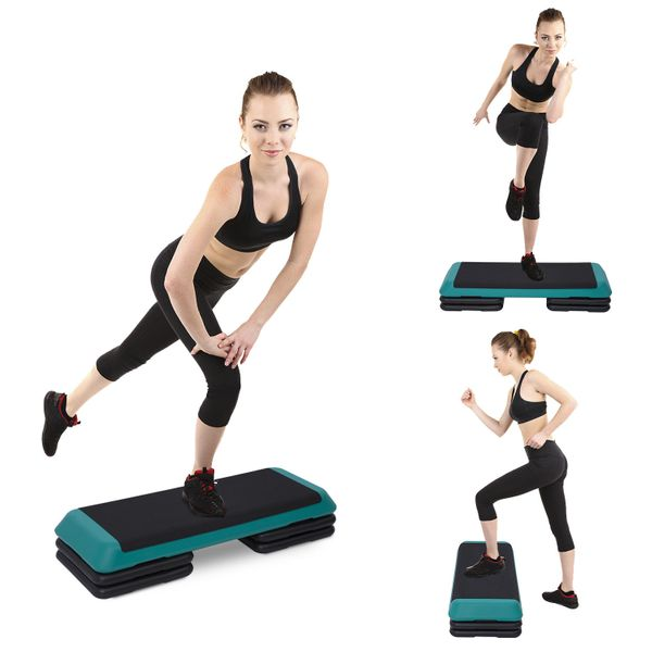 """Soozier 43"""" Aerobic Steeper Adjustable Platform Cardio Fitness Trainer Workout Step Black with Risers