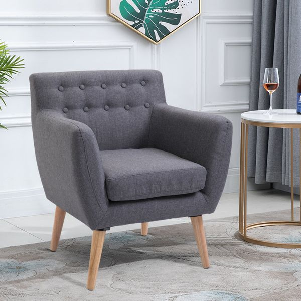 HOMCOM Mid-Century Modern Accent Arm Chair Linen Upholstery Tufted Seat with Wood Frame Thick Padded Light Grey|Aosom Canada