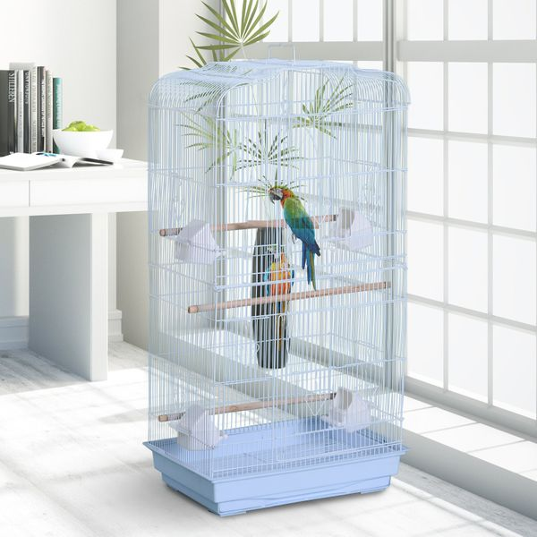 """PawHut 36"""" Bird Cage Macaw Play House Cockatoo Parrot Finch Flight Cage 2 Doors Perch 4 Feeder Pet Supplies White 