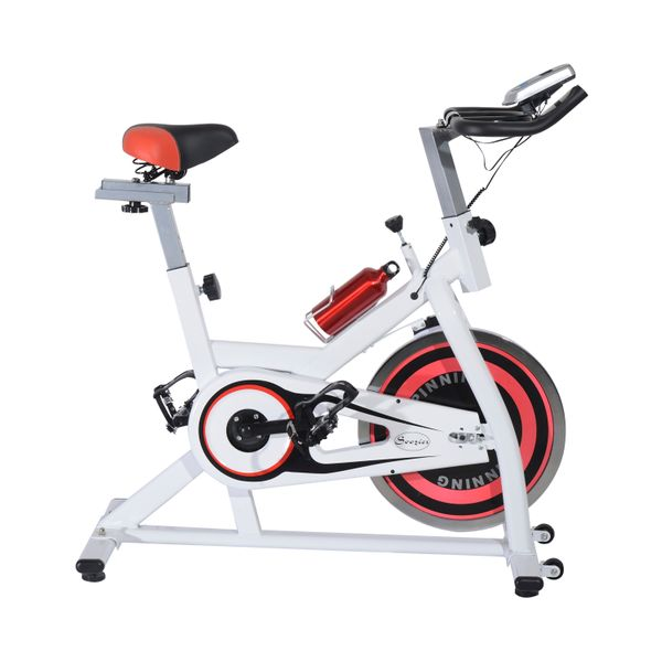 Soozier Home Spin Bike Pro Upright Indoor Cardio Bike with LCD Monitor – White and Red|Aosom Canada