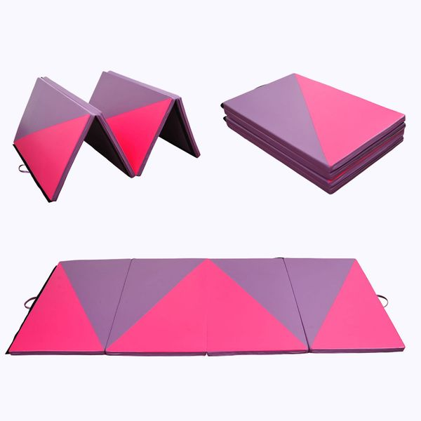 Soozier PU Leather Gymnastics Tumbling Gym Mat 4ftx10ftx2inch Folding Arts Yoga Exercise Pad 4 Panel Triangle Pattern Aerobics Stretch Mat Pink/Purple |Aosom Canada