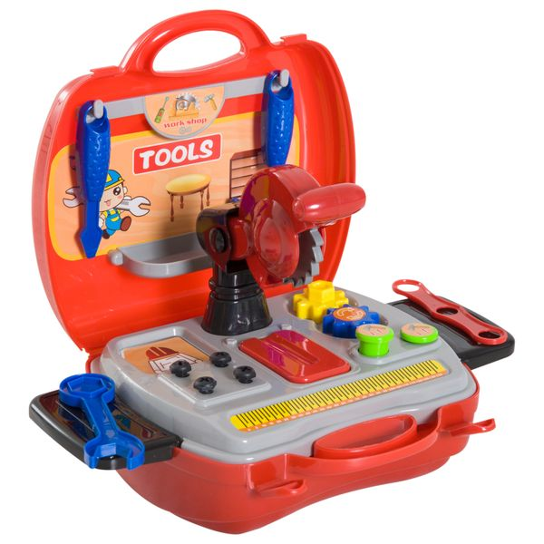 Qaba 16pc Kid's Tool Set Pretend Role Play Toddlers Educational Toy Handy Storage Case Gift Set|Aosom Canada