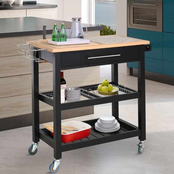 HOMCOM Bamboo Pine Granite Countertop 2-Tier Kitchen Utility Trolley Cart Multifunction Rolling with Open Shelves Basket Bar Storage | Aosom Canada