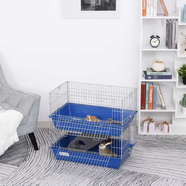 PawHut 2-Tier Small Animal Cage Pet Mink Chinchilla Guinea Pig Rabbit Hutch Pet Play House with Platform Ramp Food Dish and Water Bottle | Aosom Canada