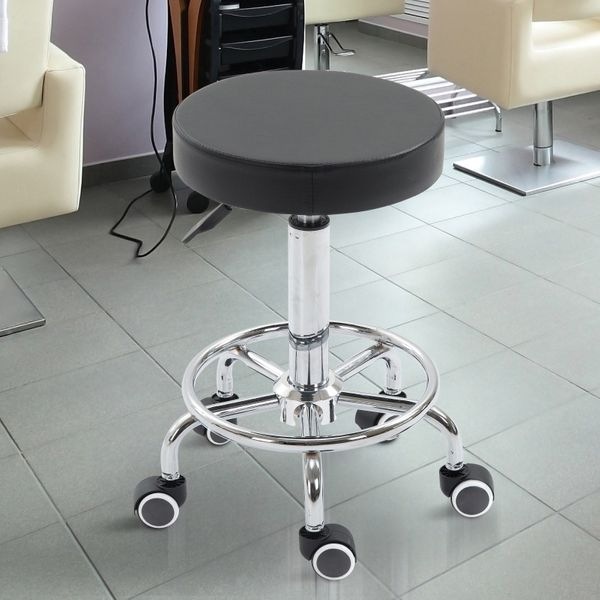 HOMCOM Adjustable Swivel Salon Stool PU Leather Swivel Saddle Chair Swivel Massage Spa Beauty Black | Aosom Canada