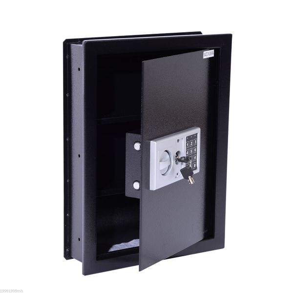 HomCom Steel Wall Mount Digital Safe Box with Theft Lock Home Hotel Office Security Flat Superior Electronic Hidden for Jewelry or Valuables Mounted Storage Black|Aosom Canada