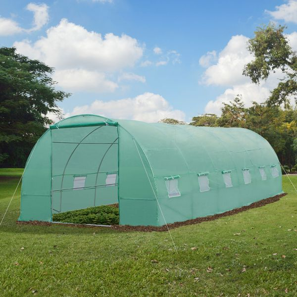 Outsunny 26.2' x10' x 6.7' Large Walk in Tunnel Greenhouse Garden Steel Frame
