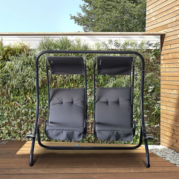 Outsunny Outdoor 2 Person Patio Swing  Chair Steel  Hanging Seat with Canopy Porch Deck