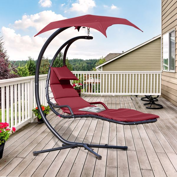 Outsunny Swing Chair Hanging Hammock Chaise Outdoor Stand Canopy Lounger Patio Wine Red