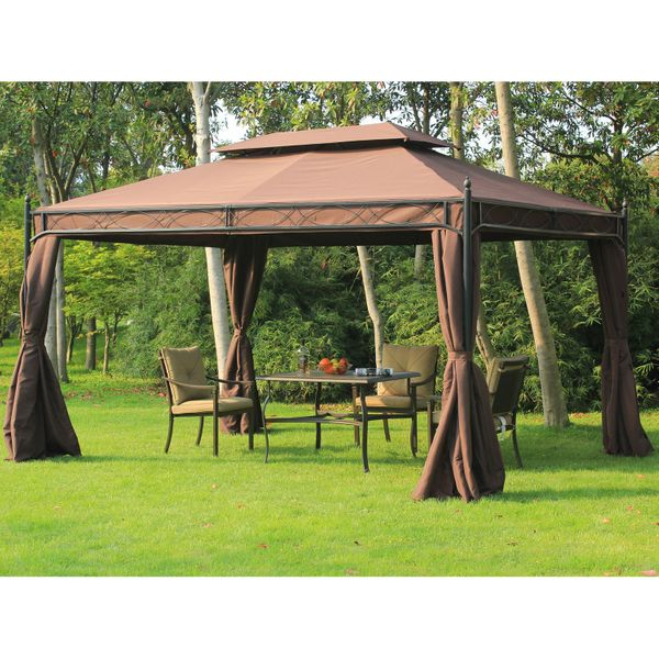 Outsunny All Seasons Gazebo 10x13ft Garden Backyard Canopy  with Curtain Double-Tiered Outdoor Shelter Coffee|Aosom Canada