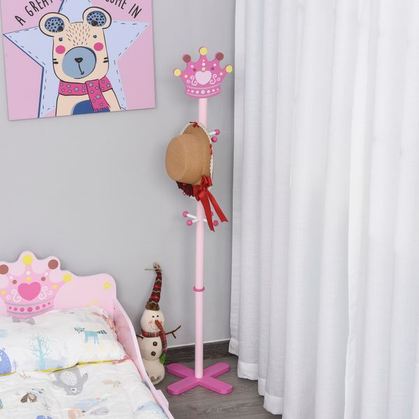 Qaba Kid's Coat Rack Free Standing Wooden Tree Hanger with Crown Modeling Design 8 Hooks for Scarves Hats Clothes Bracelets Bags Gift for Toddler Girl Pink w/ | Aosom Canada