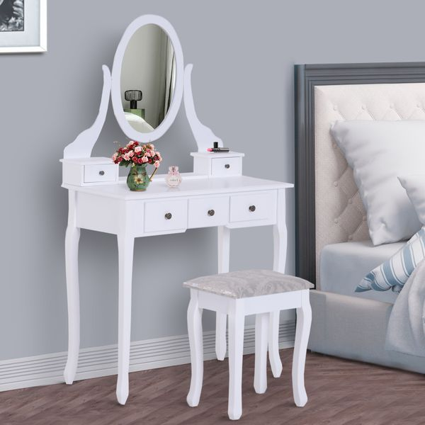 HOMCOM Contemporary Vanity Dressing Table Set Bedroom Wooden Makeup Desk w/ Mirror, Stool and 5 Drawers White|Aosom Canada