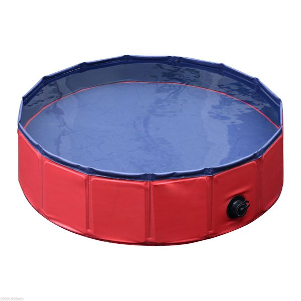 "PawHut φ31.5"" Folding Dog Bath Pool Pet Swimming Pool Puppy Bathing Tub Pet Supplies Red