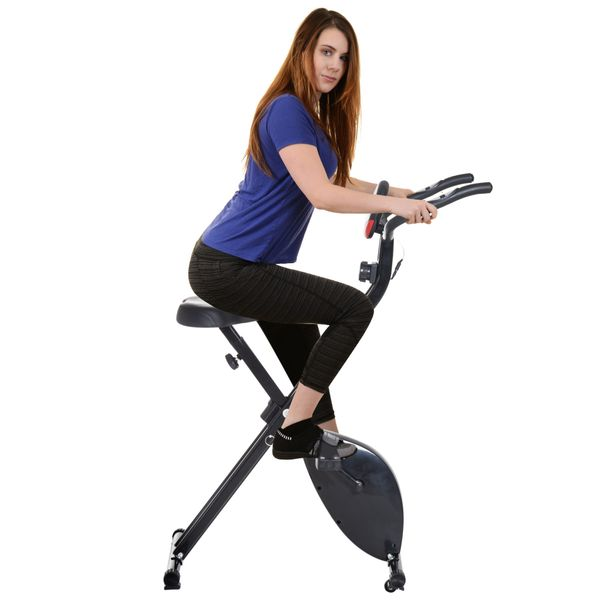 Soozier Folding Exercise Bike 8-Level Resistance X-Frame Stationary Upright Bike Cardio Fitness Workout Trainer with LCD Pulse Monitor Black | Aosom Canada