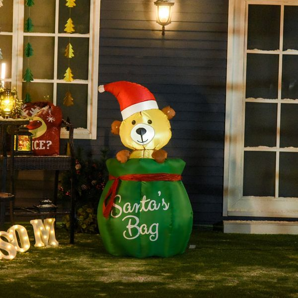 HOMCOM 4.4Ft LED Light Up Inflatable Up and Down Telescopic Bear in Santa's Bag with a Santa Hat For Christmas Holiday Yard Decoration Indoor & Outdoor costume   Aosom Canada